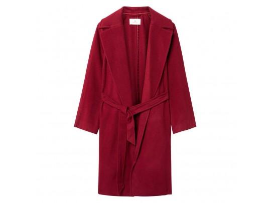 Wool Wrap Coat Wine-red